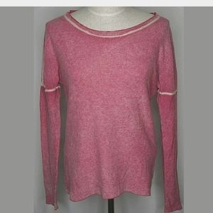 Line wool cashmere knit sweater pink soft